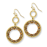 Gold-tone Light & Dark Yellow Crystal Circle Drop Earrings