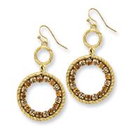 Gold-tone Light & Dark Yellow Crystal Circle Drop Earrings