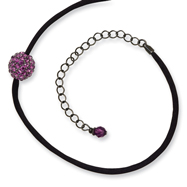 "Black-plated Purple Crystal Fireball On 16"" With External Satin Cord Necklace"