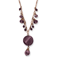 "Rose-tone Dark Red Crystal Drop 16"" With Extension Necklace"
