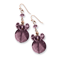 Rose-tone Dark Red Crystal Round Earrings Drop