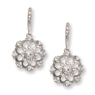 Silver-tone Crystal Drop Leverback Earrings