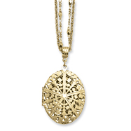 "Brass-tone Oval Locket on 16"" Double Chain Necklace"