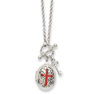 "Silver-tone Red Crystal Cross Locket 24"" Necklace"