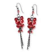 Black-plated Red Crystal Beaded Cluster Drop Earrings