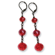 Black-plated Red Crystal Bead Linear Drop Earrings