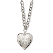 "Silver-tone Heart Locket On 28"" Necklace"