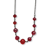 "Black-plated Red Crystal Beaded 16"" With Extension Necklace"