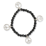 Silver-tone Peace Charms on Black Crystal Beaded Stretch Bracelet