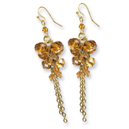 Gold-tone Dark Yellow Crystal Beaded Cluster Drop Earrings