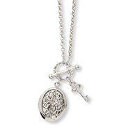 "Silver-tone Clear Crystal Cross Locket 24"" Necklace"