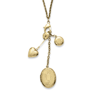 "Brass-tone Multi Locket Charm 24"" Necklace"
