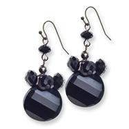 Black-plated Black Crystal Round Drop Earrings