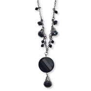 "Black-plated Black Crystal Drop 16"" With Extension Necklace"
