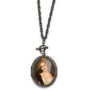 "Black-plated Woman Decal Locket 30"" Necklace"