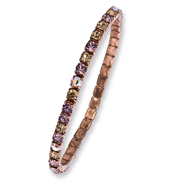 Copper-tone Purple, Pink & Yellow Crystal Stretch Bracelet