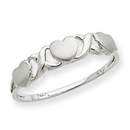 14K White Gold Triple Heart Ring