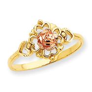 14K Two-tone Gold Diamond Cut Rose & Heart Ring