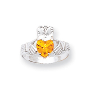 14K White Gold November Birthstone Claddagh Ring
