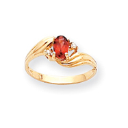 14K Gold January Garnet & .03ct Diamond Birthstone Ring