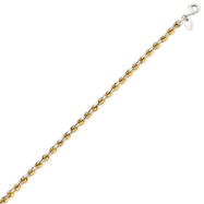 14K Yellow Gold & Sterling Silver 4mm Diamond Cut Rope Bracelet
