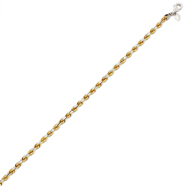 14K Yellow Gold & Sterling Silver 4.3mm Diamond Cut Rope Bracelet
