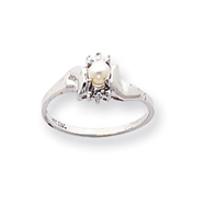 14K White Gold June Cultured Pearl & .01ct Diamond Birthstone Ring