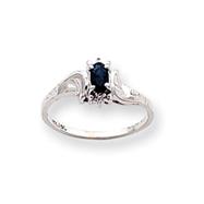 14K White Gold September Sapphire & .01ct Diamond Birthstone Ring