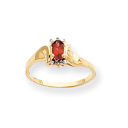 14K Gold January Garnet &  .01ct Diamond Birthstone Ring