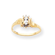 14K Gold April White Topaz &  .01ct Diamond Birthstone Ring