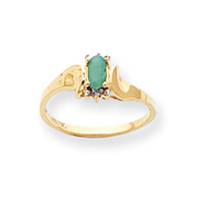 14K Gold May Emerald &  .01ct Diamond Birthstone Ring
