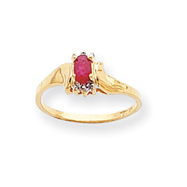 14K Gold July Ruby &  .01ct Diamond Birthstone Ring