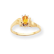 14K Gold November Citrine &  .01ct Diamond Birthstone Ring