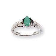 14K White Gold May Emerald & .02ct Diamond Birthstone Ring