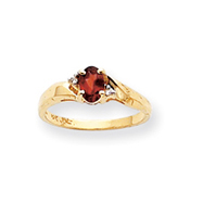 14K Gold January Garnet .02ct Diamond Birthstone Ring