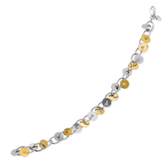 14K Yellow Gold & Sterling Silver Disc & Oval Chain Bracelet