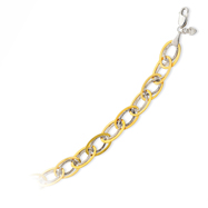 14K Yellow Gold & Sterling Silver Textured Oval Link Bracelet