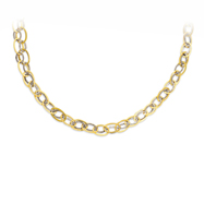14K Yellow Gold & Sterling Silver Textured Oval Link Necklace