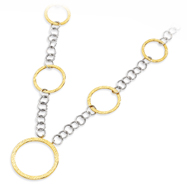 14K Yellow Gold & Sterling Silver Textured Circle Necklace