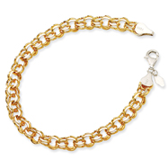 14K Yellow Gold & Sterling Silver Diamond Cut Charm Bracelet