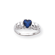 14K White Gold Synthetic September Heart Birthstone Ring