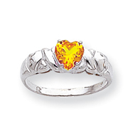 14K White Gold Synthetic November Heart Birthstone Ring