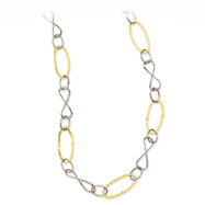 14K Yellow Gold & Sterling Silver 2-Color Oval & Twist Link Necklace