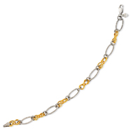 14K Yellow Gold & Sterling Silver Oval & Twist Link Bracelet