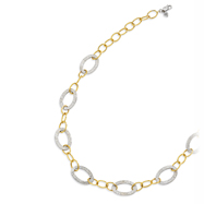 14K Yellow Gold & Sterling Silver Oval Link Necklace