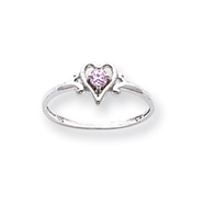 14K White Gold October Tourmaline Birthstone Heart Ring