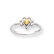 14K White Gold November Citrine Birthstone Heart Ring