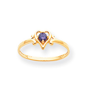 14K Gold February Amethyst Birthstone Heart Ring