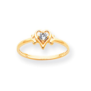 14K Gold March Aquamarine Birthstone Heart Ring