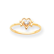 14K Gold April White Topaz Birthstone Heart Ring